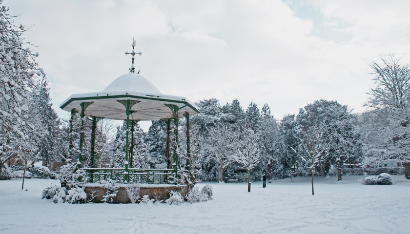 Pageant gardens' bandstand in the snow